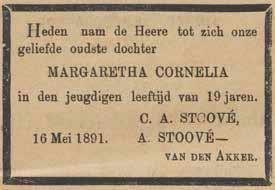 Rouwadvertentie in de Weekbode voor de oudste dochter, Margaretha Cornelia, overleden 16 mei 1891