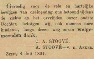 Dankbetuiging in de Weekbode van C.A. Stoové en A. Stoové - van den Akker, d.d. 4 juli 1891, voor de betoonde vele en hartelijke bewijzen van deelneming