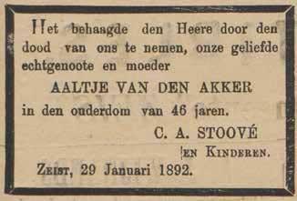 Rouwadvertentie in de Weekbode voor Aaltje van den Akker, overleden 29 januari 1892