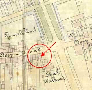 Uitsnede van de kaart van Zeist uit 1885 met daarop aangegeven het winkelwoonhuis en de bakkerij van C.A.Stoové, 2e Dorpsstraat 31–31a, Zeist