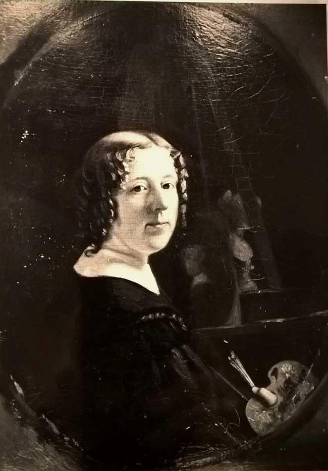Geschilderd portret van Marianne Walkart met schilderspalet