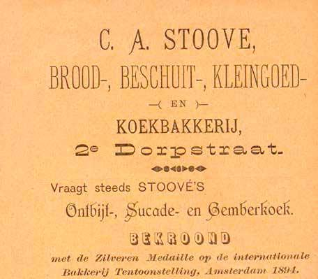 Advertentie van bakkerij A.E. Stoové in Adresboek van Zeist (1905)