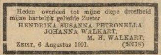 Rouwadvertentie 1901 Hendrika Susanna Petronella Johanna Walkart