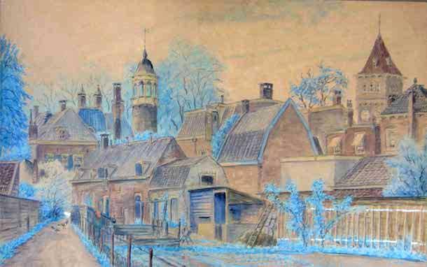 Tekening van Eug. Rensburg uit 1917 van de achterhuizen en schuren van de huizen aan de 2e Dorpsstraat, Zeist