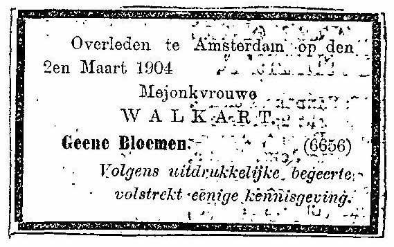 Rouwadvertentie 1904 Marianne Henriette Walkart