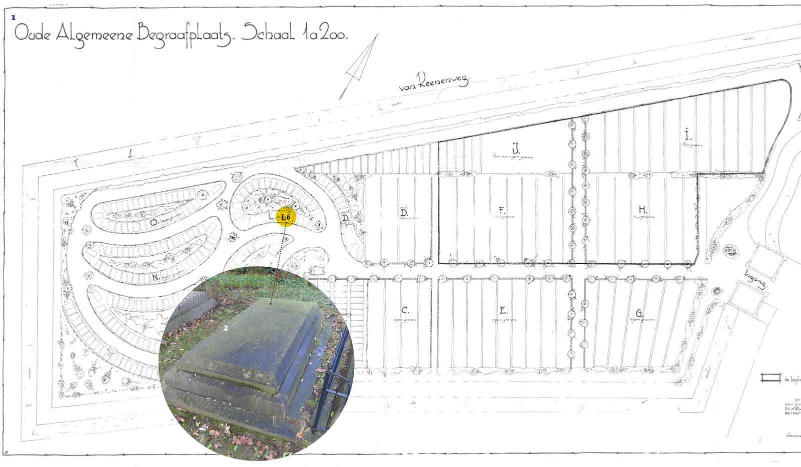 Ligging graf L6 Walkart - Plattegrond Oude Algemene Begraafplaats