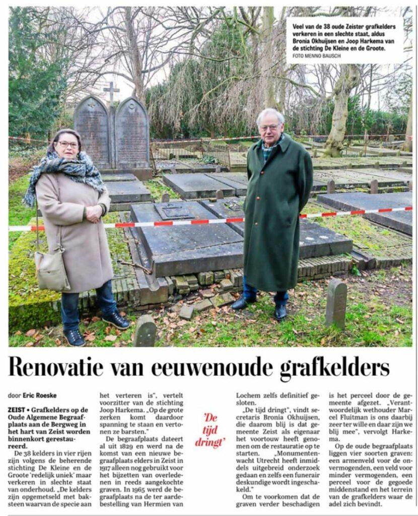Telegraaf Utrecht - Artikel; Renovatie van eeuwenoude grafkelders