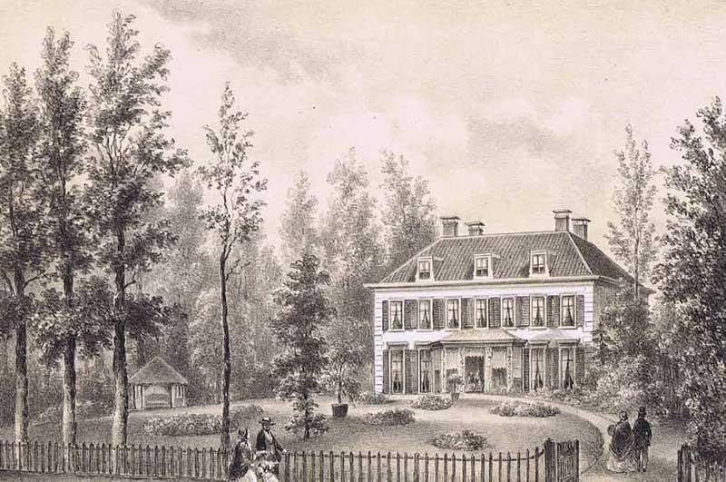 Villa Bloemenheuvel, litho door P. J. Lutgers, 1869