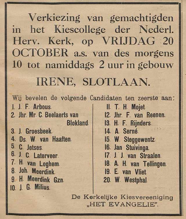 Aankondiging in de Weekbode van 18 oktober 1911