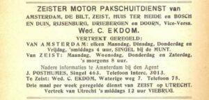 Advertentie 1918, Zeister Motor Pakschuitdienst