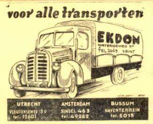 Advertentie 1947, Ekdom transporten
