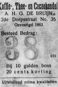 Advertentie van De Bruijn, 1894, Weekblad Zeist