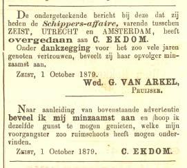 Advertentie, Weekbode, 4 oktober 1879