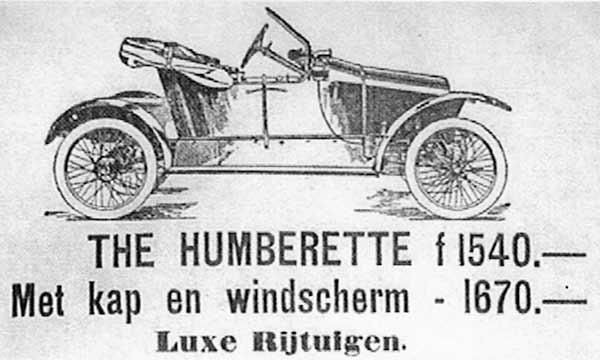 Advertentie Uitman Zeist automobiel 'the humberette'