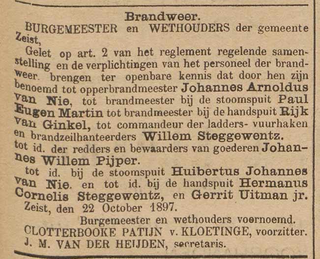 Bericht in de Weekbode van 23 oktober 1897