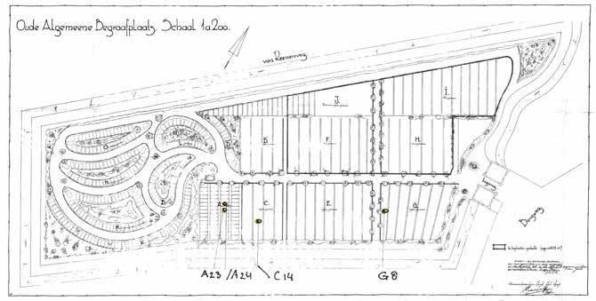 Plattegrond OA Begraafplaats Zeist - Graven van Domineess