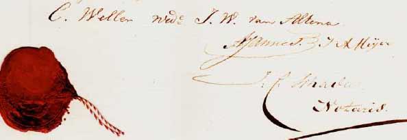 Handtekening van Carolina Weller - 1856