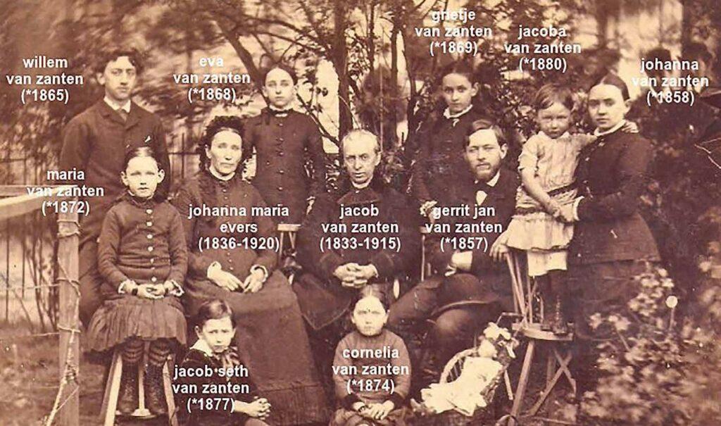 Familiefoto van het gezin Van Zanten te Zeist 1884
