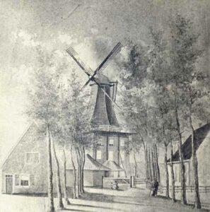 Houten korenmolen 'De Hoop' ca. 1860.