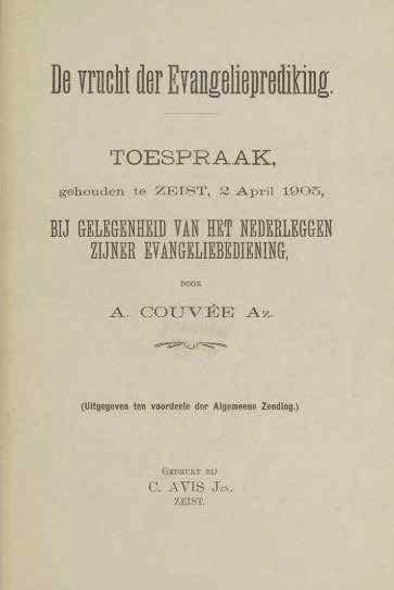 Omslag afscheidstoespraak ds. A. Couvée gehouden te Zeist 12 april 1905