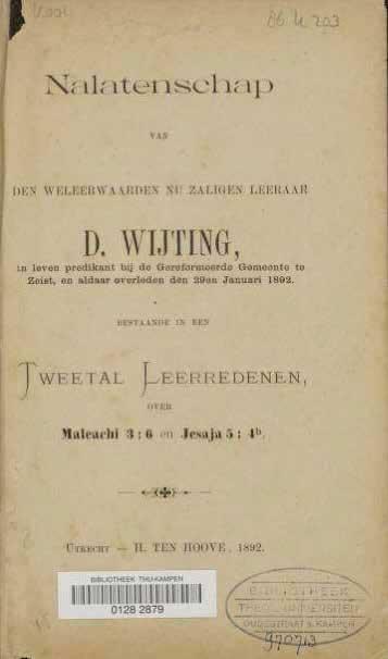 Omslag gebundelde leerredenen van D. Wijting.