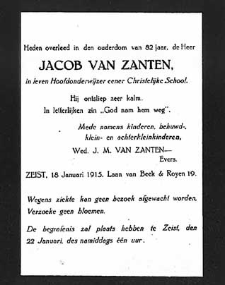 Rouwadvertentie Jacob van Zanten, 18 januari 1915.