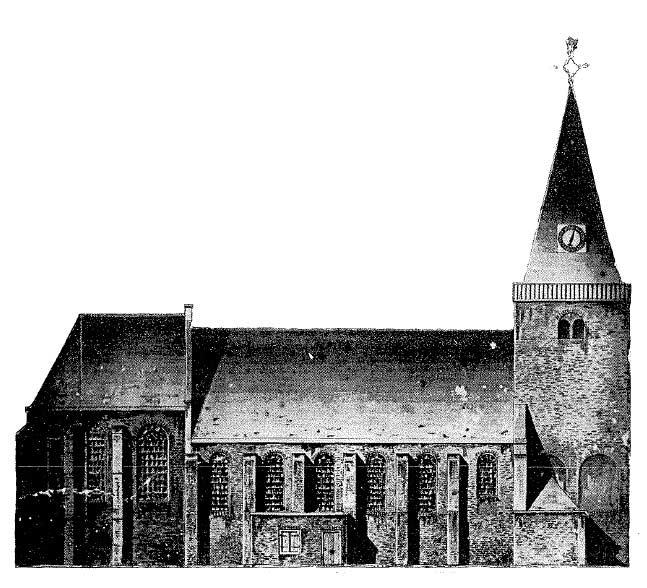 Foto De oude romaanse kerk met gotisch koor aan de Dorpsstraat omstreeks 1840 (anoniem).
